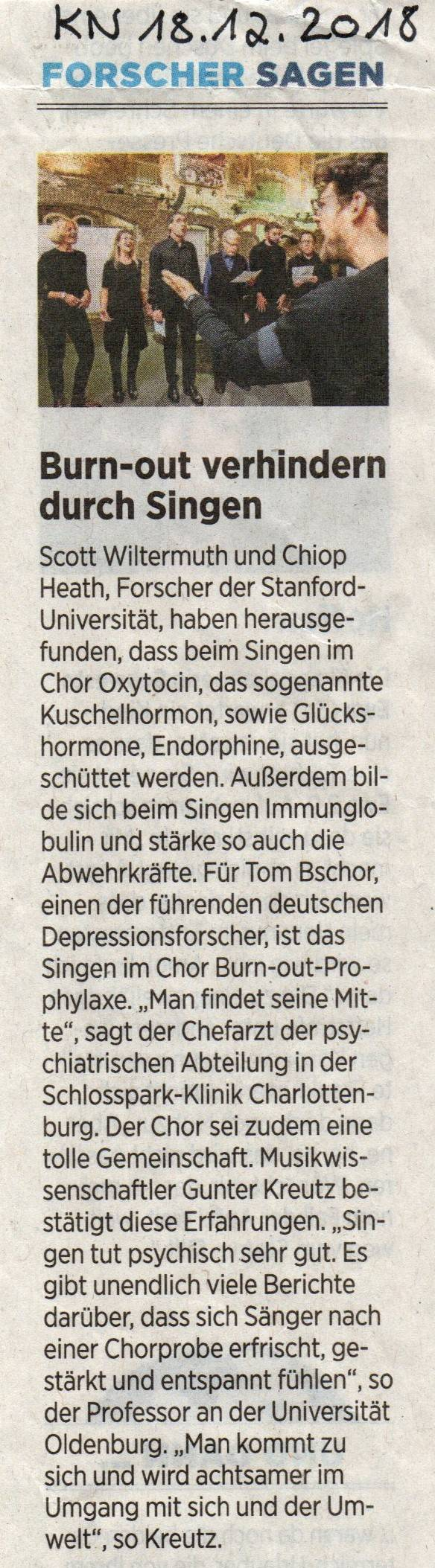 KN-Artikel Burn-out verhindern durch Singen